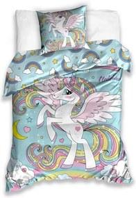 Lenjerie de pat din bumbac, pentru copii, Unicorn Fermecător, 140 x 200 cm, 70 x 80 cm