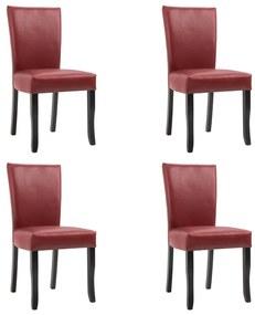 277164 vidaXL Scaune de sufragerie, 4 buc., roșu vin, piele ecologică