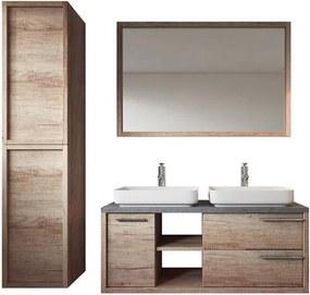 Set de mobilier de baie Phillip, lemn, maro