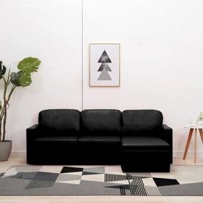 288793 vidaXL Canapea extensibilă modulară, 3 locuri, negru, piele ecologică