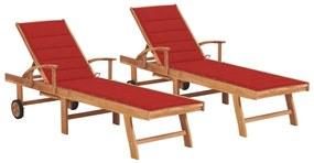 3073192 vidaXL Șezlonguri, 2 buc., cu pernă roșie, lemn masiv de tec