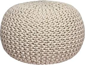 Puf tricotat LABEL51 Knitted, crem
