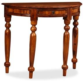 245157 vidaXL Masă consolă, lemn masiv palisandru, 90x40x76 cm, semi-rotund