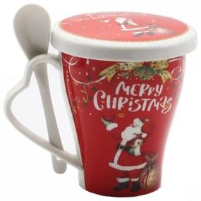 Cana din portelan cu lingurita si capac Christmas