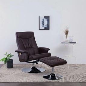 248495 vidaXL Fotoliu de masaj rabatabil cu taburet, maro, piele ecologică