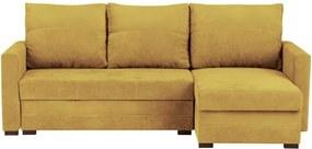 Canapea modulară, extensibilă, cu 3 locuri și spațiu pentru depozitare Melart Andy, galben