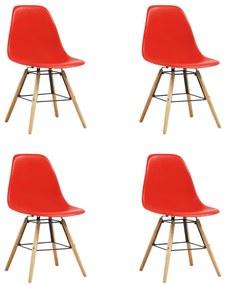 248272 vidaXL Scaune de bucătărie, 4 buc., roșu, plastic