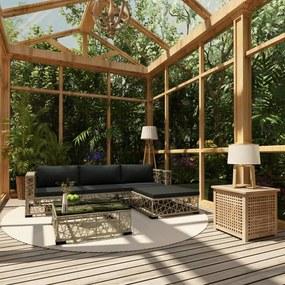 46808 vidaXL Set mobilier de grădină cu perne, 5 piese, gri, poliratan