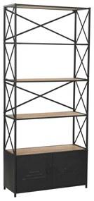 246426 vidaXL Bibliotecă, lemn masiv de brad și oțel, 80 x 32,5 x 180 cm