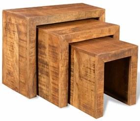 241130 vidaXL Set de mese suprapuse, 3 piese, lemn masiv de mango