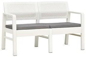48821 vidaXL Bancă de grădină cu 2 locuri cu perne, alb, 120 cm, plastic