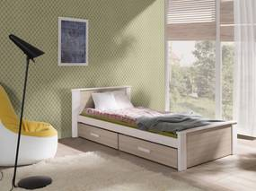 Pat Donald pentru copii – culoare stejar somon 200x90 cm pat + spațiu de depozitare