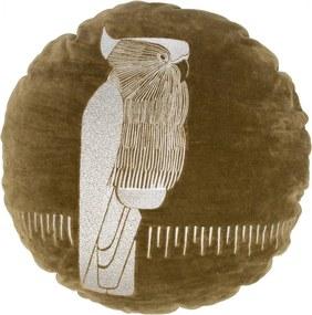 Perna decorativa rotunda maro din catifea 45 cm Coco Woood