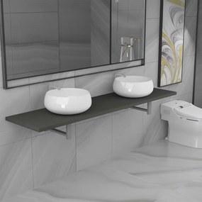 279393 vidaXL Set mobilier de baie din trei piese, gri, ceramică