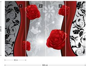 Fototapet GLIX - Red Roses Floral  + adeziv GRATUIT Papírová tapeta  - 254x184 cm