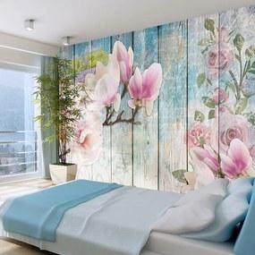 Fototapet Bimago - Pink Flowers on Wood + Adeziv gratuit 300x210 cm