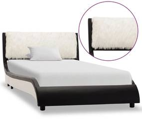 280357 vidaXL Cadru de pat, negru și alb, 90 x 200 cm, piele ecologică