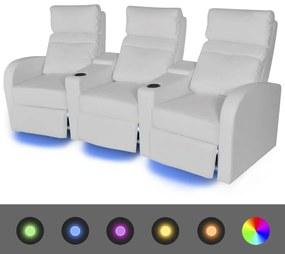 243597 vidaXL Canapea rabatabilă cu 3 locuri cu LED piele artificială alb