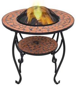 46723 vidaXL Masă cu vatră de foc, mozaic, cărămiziu, 68 cm, ceramică