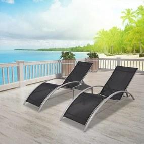 42160 vidaXL Șezlonguri de plajă cu masă, negru, aluminiu