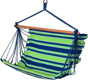 Hamac Brazilian tip Scaun Suspendat pentru Curte sau Gradina, 100x100cm, Verde/Albastru