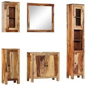 247724 vidaXL Set mobilier de baie, 5 piese, lemn masiv de sheesham