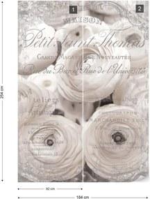 Fototapet GLIX - White Peonies Vintage Script  + adeziv GRATUIT Papírová tapeta  - 184x254 cm