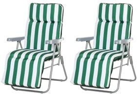 Outsunny Set 2 Scaune Șezlong de Grădină, pentru Plajă cu Brațe Reclinabile, alb și verde