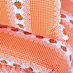 Set cu pilotă de vară 140 x 200 cm și pernă 40 x 60 cm BARUNKA portocaliu