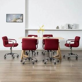 278551 vidaXL Scaune de sufragerie pivotante, 6 buc., roșu vin, textil