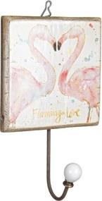 Cuier de perete din lemn si fier Flamingo 14 cm x 7 cm x 23 h