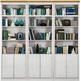 Bibliotecă din lemn de pin Støraa Annabelle, 219 cm, alb cu detalii maro