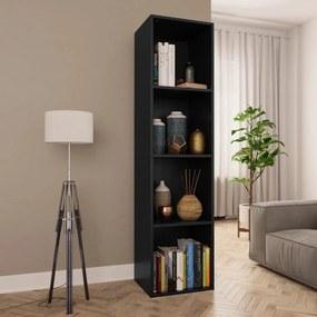 800145 vidaXL Bibliotecă/Comodă TV, negru, 36 x 30 x 143 cm, PAL