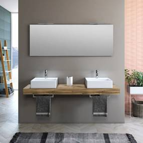 Set de baie cu 8 piese YOKA , Melamina Aluminiu Abs Sticla Ceramica Metal, Maro deschis,  165x45x190 cm