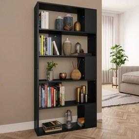 800100 vidaXL Bibliotecă/Separator cameră, negru, 80x24x159 cm, PAL