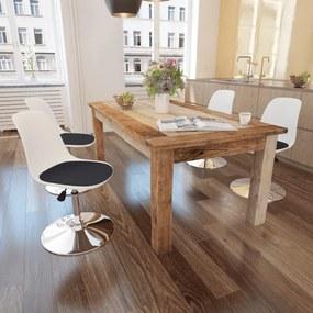 242252 vidaXL Scaune de bucătărie pivotante 4 buc, alb&negru, piele ecologică