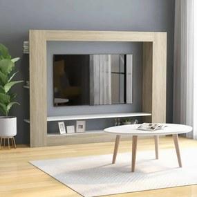 800743 vidaXL Comodă TV, alb și stejar Sonoma, 152 x 22 x 113 cm, PAL