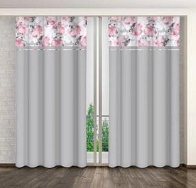 Perdea decorativă gri frumoasă, cu o combinație de culori de flori Lungime: 250 cm