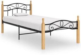 324911 vidaXL Cadru de pat, negru, 90x200 cm, metal și lemn masiv de stejar