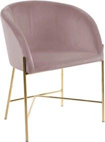 Scaun Interstil Nelson, roz pastel cu picioare aurii