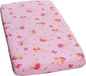 Cearceaf din bumbac cu elastic Honey Bear Pink 120x60 cm