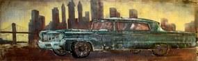 Tablou pe metal striat - Tyrkys Cadillac, 180x56 cm