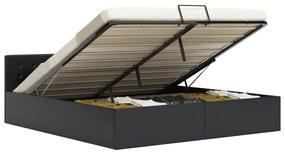 285515 vidaXL Cadru pat hidraulic cu ladă, negru, 180x200 cm, piele ecologică