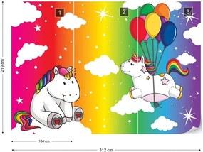 Fototapet GLIX - Unicorns Rainbow + adeziv GRATUIT Tapet nețesute  - 312x219 cm
