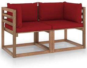 3067281 vidaXL Canapea de grădină paleți, 2 locuri, perne roșu vin, lemn pin