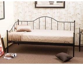 Pat divan metalic Dover negru - 90x200 cm
