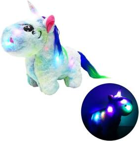 Unicorn din plus iluminat LED, 30x26cm, albastru