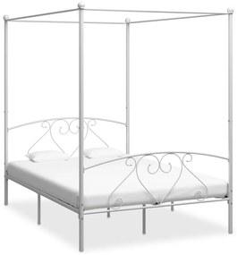 284430 vidaXL Cadru de pat cu baldachin, alb, 160 x 200 cm, metal