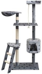 Ansamblu pisici cu funie de sisal, 150 cm, imprimeu lăbuțe, gri