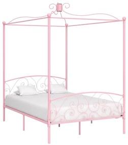 284488 vidaXL Cadru de pat cu baldachin, roz, 120 x 200 cm, metal